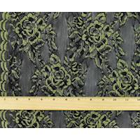 *3 5/8 YD PC--Antique Yellow/Black Rose Lace Mesh Knit