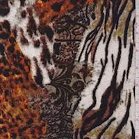 Bone/Orange/Olive Animal Print Patchwork Activewear