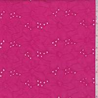 Hot Pink Linen Blend Embroidered Floral Eyelet