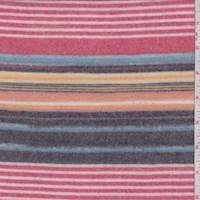 Pale Red/Black Multi Stripe Faux Cashmere Knit