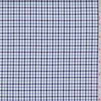 White/Navy/Blue Plaid Cotton Oxford Shirting