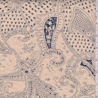 Beige/Pewter Paisley Printed Cotton