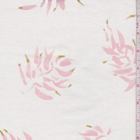 White/Pink Botanical Printed Linen Decor Fabric