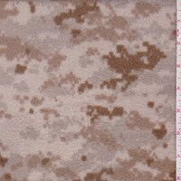 Pale Tan/Taupe Pixelated Camo Printed Fleece