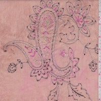 Brown/Salmon Pink Embroidered Paisley Crinkled Chiffon