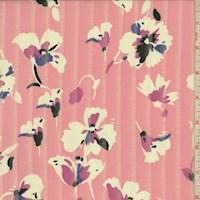 Baby Pink/White Burnout Stripe Floral Chiffon