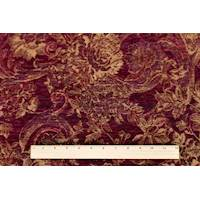 *1 YD PC--Maroon Red/Multi Floral Chenille Tapestry Decorating Fabric