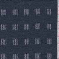 *1 1/2 YD PC--Navy Blue Check Jacquard Mesh