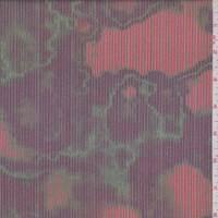 *1 1/8 YD PC--Burgundy/Jade Mottled Pinstripe Swimwear