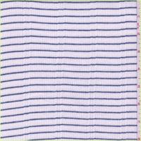 *2 3/8 YD PC--White/Steel Blue Stripe Thermal Knit