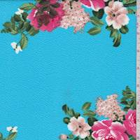 *3 1/8 YD PC--Bright Sky Floral Textured Liverpool Knit