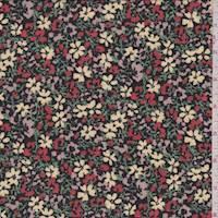 *3 1/2 YD PC--Black Multi Mini Floral Crepe Georgette