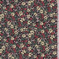 *4 1/8 YD PC--Black Multi Mini Floral Crepe Georgette