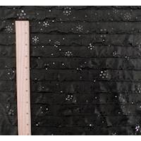 *4 7/8 YD PC--Black Dot Print Ruffle Knit