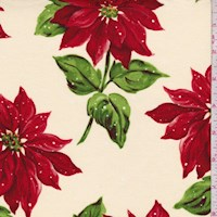 "Ecru ""Poinsettia in the Snow"" Print Cotton"