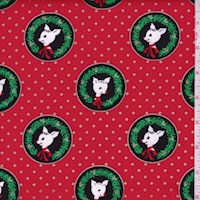 "Red ""Fawn Laureates"" Print Cotton"