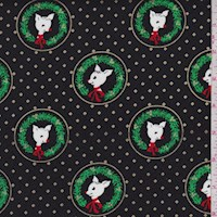 "Black ""Fawn Laureates"" Print Cotton"