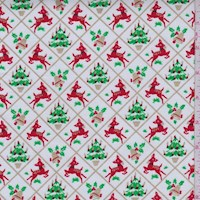 White Christmas Diamond Print Cotton