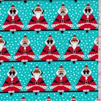 "Turquoise ""Three Wise Santas"" Print Cotton"