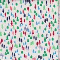 White Mini Tree Print Cotton
