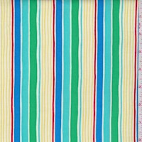 "Teal ""Sunrays Stripe"" Print Cotton"