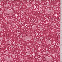 "Red ""Starfish"" Print Cotton"