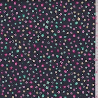 "Black Multi ""Glitter Floral"" Print Cotton"