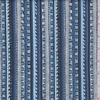 "Blue ""Beachcomber Stripe"" Print Cotton"