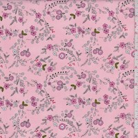 "Pink ""Forest Flowers"" Print Cotton"