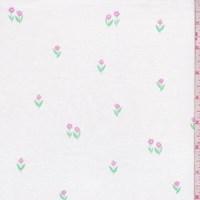 """White """"Tulip Garden"""" Print Cotton"""