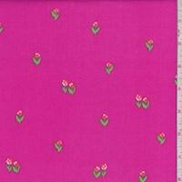 """Hot Pink """"Tulip Garden"""" Print Cotton"""