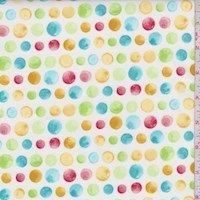 "White/Teal ""Delightful"" Dot Print Cotton"