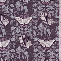 "Taupe Butterfly ""Daydreaming"" Print Cotton"