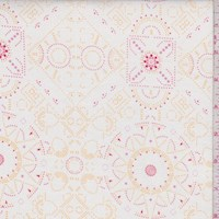 "White/Peach ""Family Heirloom"" Print Cotton"