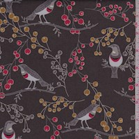 "Brown ""Ruby Throated"" Bird Print Cotton"
