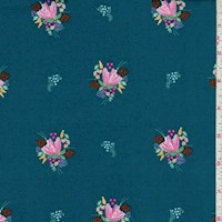 "Dark Teal ""Soul Blossoms"" Print Cotton"