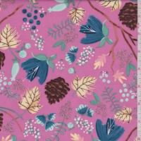 Dark Pink Foilage Print Cotton