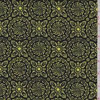 """Black """"Floral Medallion"""" Print Cotton"""