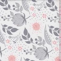 """White/Grey """"Twilight"""" Floral Print Cotton"""
