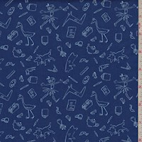"Navy ""Lola and Friends"" Print Cotton"