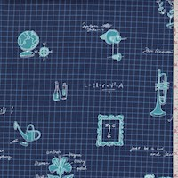 "Navy ""Learn About Everything"" Print Cotton"