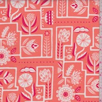 "Coral Orange ""Labyrinth"" Floral Print Cotton"