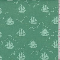 Fern Green Ship Print Cotton