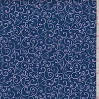 "Navy ""Heart Swirl"" Print Cotton"