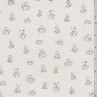 "Cream ""Ducks in a Row"" Print Cotton"