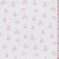 "White ""Ducks in a Row"" Print Cotton"