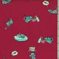 "Strawberry Red ""Tabby Teasers"" Print Cotton"