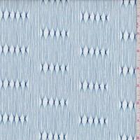 "White/Blue ""Curtain Weave"" Print Cotton"