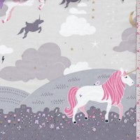 "Grey ""Magic Meadow"" Unicorn Double Border Print Cotton"