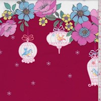 "Wine ""Sentimental Journey"" Double Border Print Cotton"